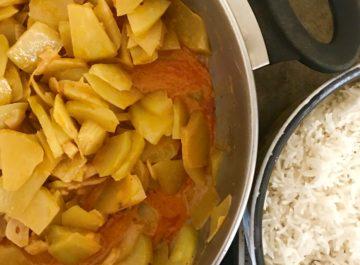 תבשיל של פאפיה ירוקה בקארי