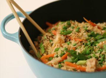 חזה עוף מוקפץ עם אורז
