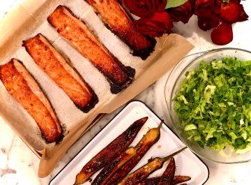 דג סלמון בתנור ברוטב מיסו
