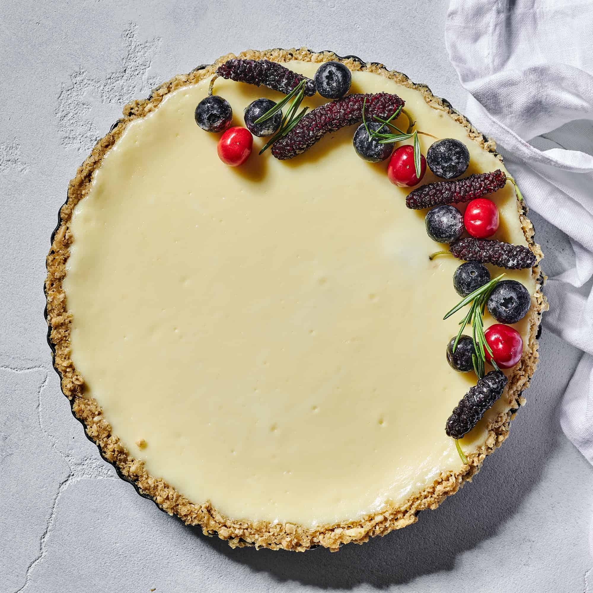 עוגת גבינה אפויה עם תחתית קוואקר פריכה